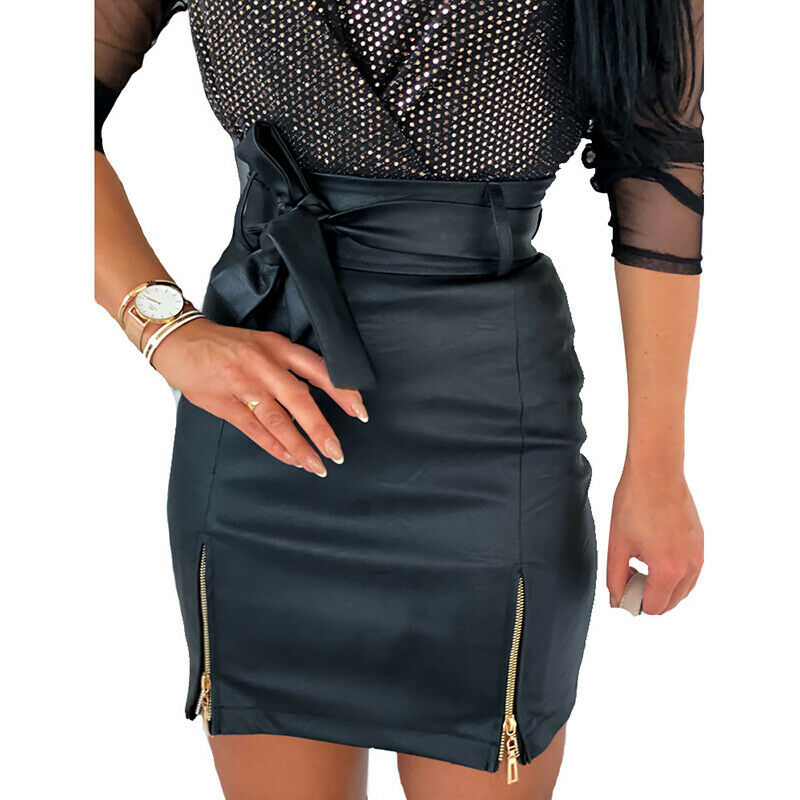 Brand New Womens High Waist Solid PU Leather Mini Skirts Ladies Zipper Bandage Bodycon Pencil Skirts Office Wear