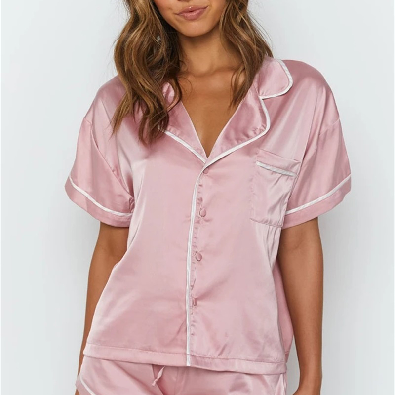 Pink Silk Satin Casual 2 Piece Set Button Turn Down Collar Loose Woman T-shirt Elastic Lace Up Pocket Summer Casual Shorts