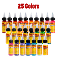 Tattoo Ink 25 Colors Set 1 oz 30ml/Bottle Tattoo inks Pigment Kit for Tatoo makeup beauty skin body art Permanent makeup