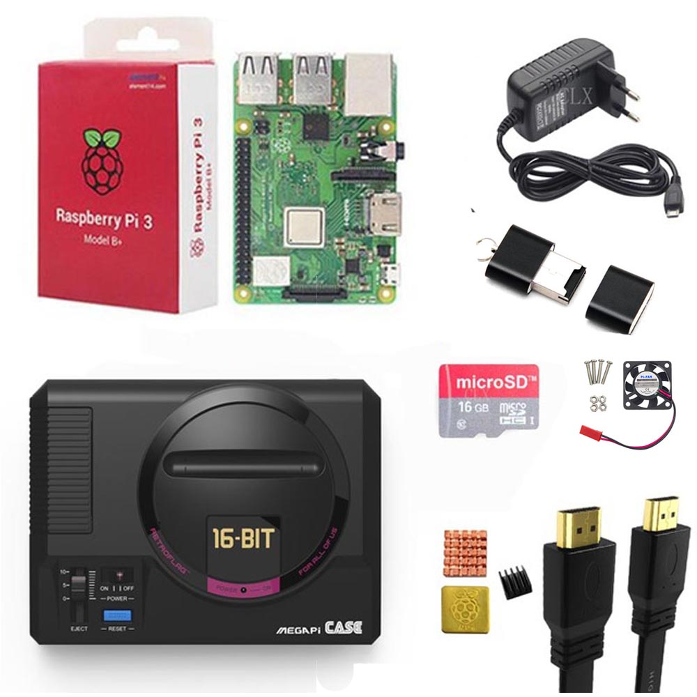 Retroflag MEGAPi Case +Raspberry Pi 3B+(Plus)+16/32GB Card+5V 3Apower+HDMI+Heat Sink For Raspberry Pi 3B+