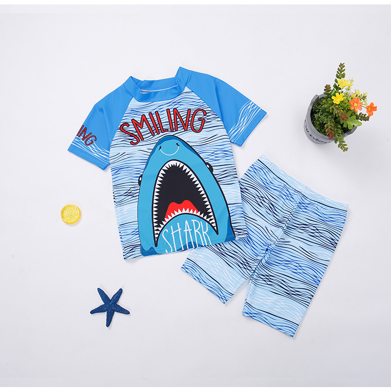 Children Two-piece Swimsuits Korean-style Boy Cartoon BOY'S Large Size Students Hot Springs Quick-Dry Bathing Suit Short Sleeve