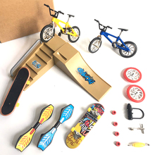 Mini Finger Skateboarding Skate Ramp Parts Set BMX Bicycle Set Fun Skate Boards Mini Bikes Toys For Children Boys Kids Gifts