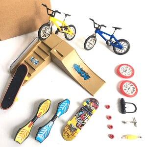 Mini Finger Skateboarding Skate Ramp Parts Set BMX Bicycle Set Fun Skate Boards Mini Bikes Toys For Children Boys Kids Gifts(China)