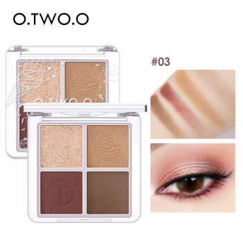 O.TWO.O 4 Color Eyeshadow Palette Peach Waterproof Long Lasting Shimmer  Matte Eye shadow Soft Smooth Shadow Primer Makeup 1