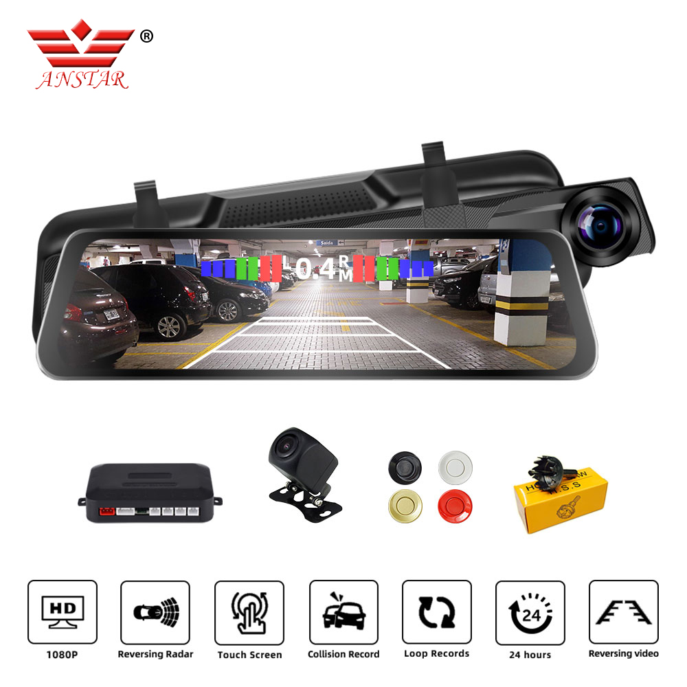 <font><b>2019</b></font> Newest Anstar H50 Car DVR Radar Detector Alarm System 10 Inches Touch Screen 1080P <font><b>Dash</b></font> <font><b>Cam</b></font> Dual lens Car Camera image