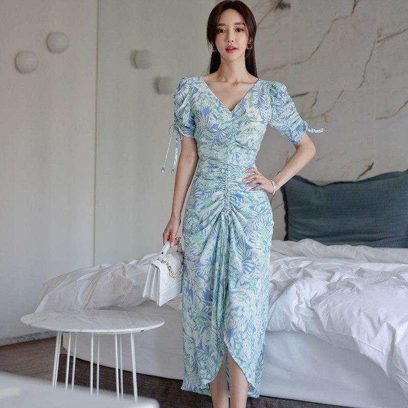 HAYBLST Brand Elegant Beach Women Dress 2019 New Summer Fashion Print Patchwork Clothing Plus Size XL Korean Slim Womens Dress