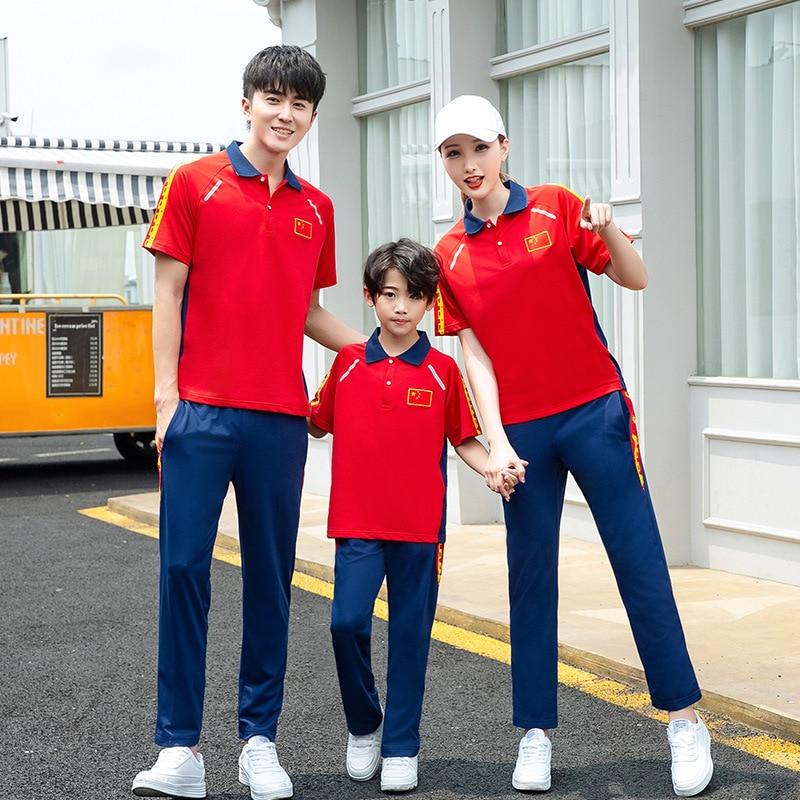 Summer Wear National Team Short Sleeve Sports Take Parent And Child Set Men And Women Kids' Overcoat School Uniform National Ser