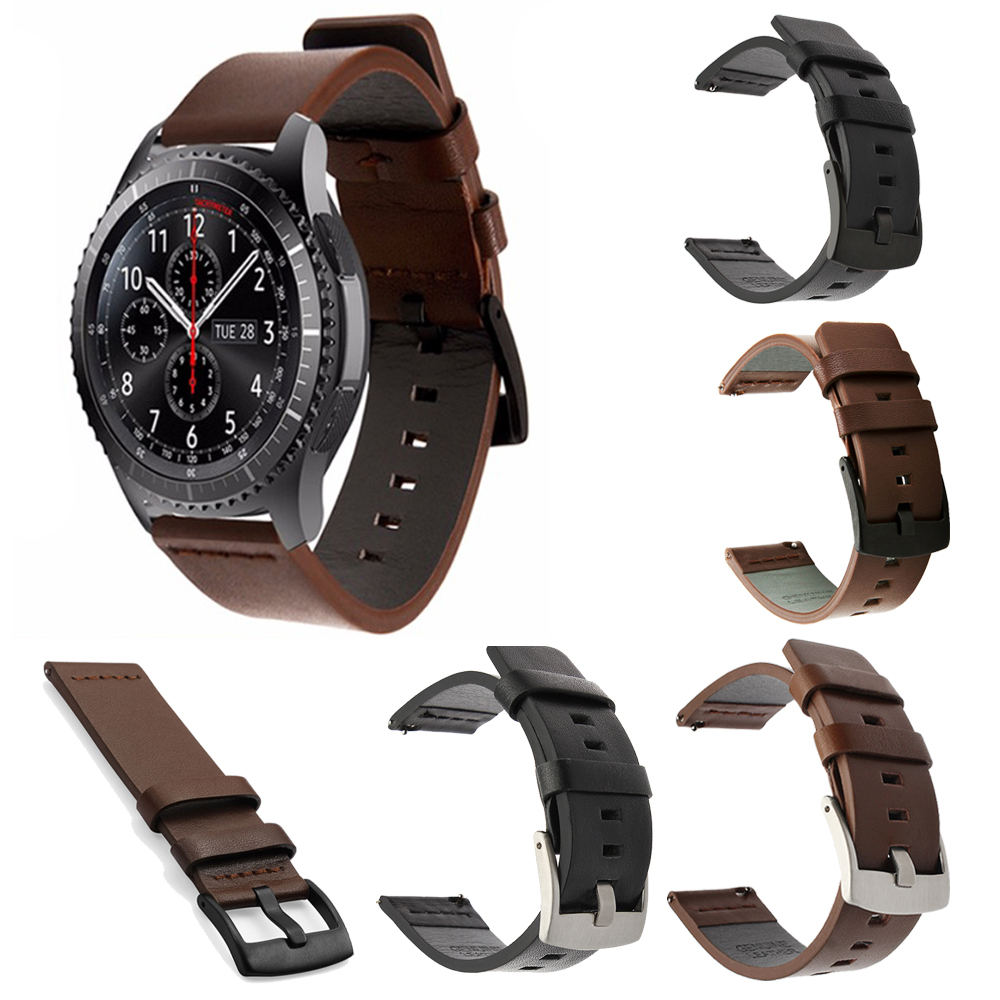 Genuine Classic Leather Strap For Samsung Gear S3 Band Frontier Strap For Gear S3 Classic galaxy watch active 46mm smartwatch