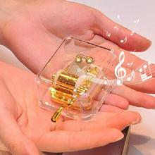 New Mini Clear Lightweight Acrylic Hand Cranked Musical Mechanism Music