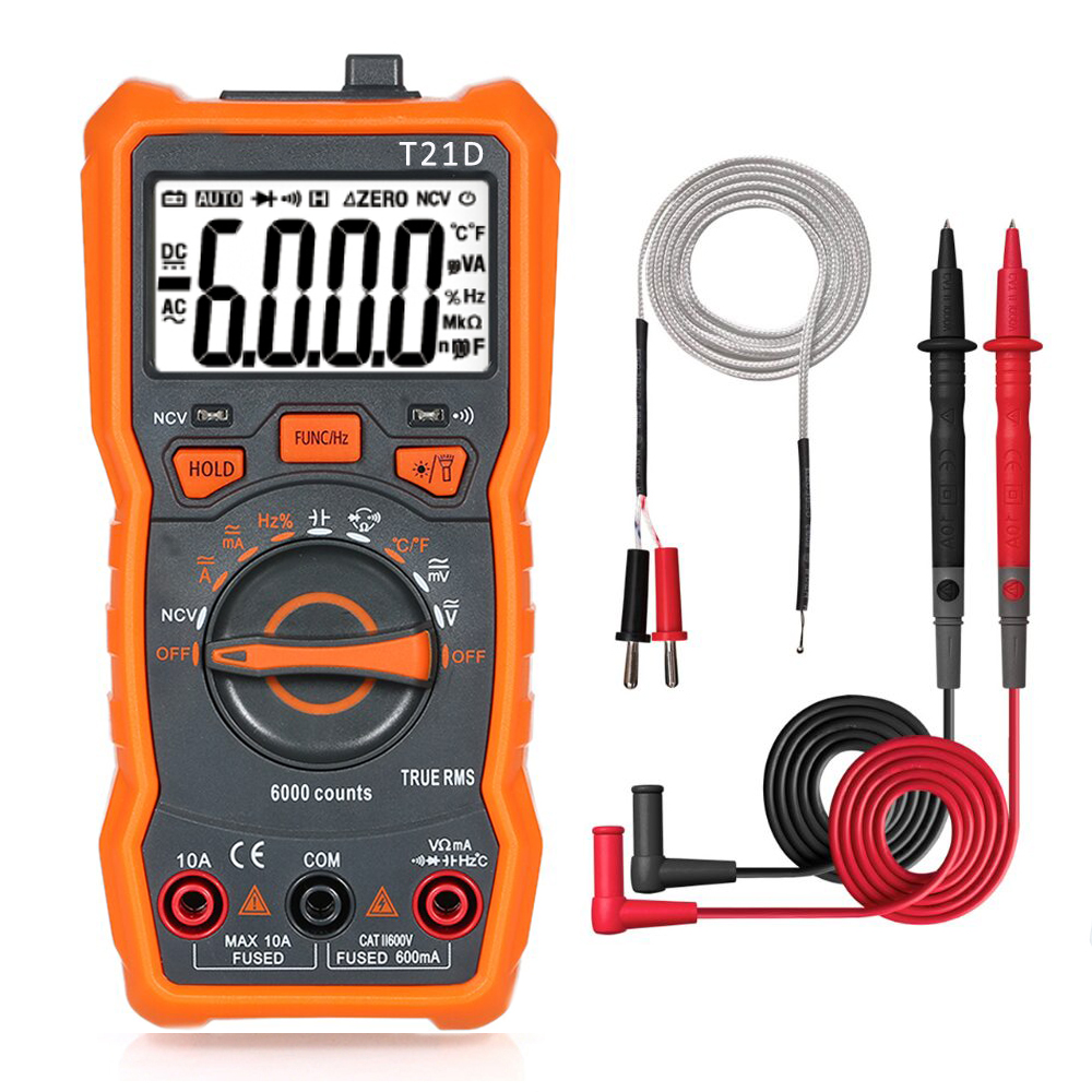 T21D Digital Multimeter RM113D Multimetro Analogico 6000 Counts Transistor Capacitor Tester Esr Capacitance Meter Voltemetre