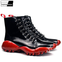 Brand Lace Up Platform Boots Men Street Designer Red Casual Ankle Shoes