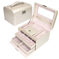 Korean Style Jewelry Box Casket PU Storage Box For Jewelry Makeup Case Jewelry Organizer Container Boxes Wedding Birthday Gift