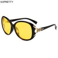 Женские HD поляризованные очки ночного видения для вождения, черные овальные большие солнцезащитные очки с бриллиантами, желтые очки для во...