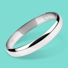 100% 925 Silver Bracelet for Women Minimalist 8mm10mm Glossy Bracelet Sterling Silver Bracelet Fine Jewelry Christmas Gifts