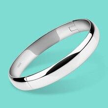 100% 925 pulseira de prata para Women Minimalist 8mm10mm pulseira brilhante pulseira de prata esterlina jóias finas presentes de natal