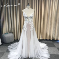 Leeymon Mermaid Ivory and Nude Boho Wedding Dress Beaded Lace Appliques Sexy Backless Beach Bridal Gown Robe de Mariee