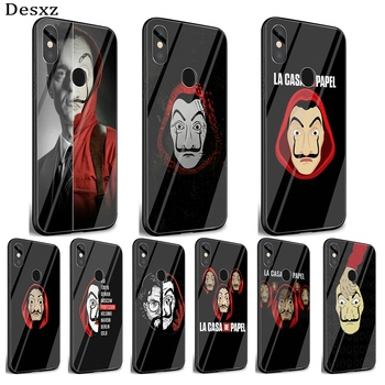 Mobile Phone Glass Case For Xiaomi Note 5 6 7 Pro F1 A1 A2 4X 5X 6X 9 Cover TPU TV Series Money Heist House Of Paper Shell