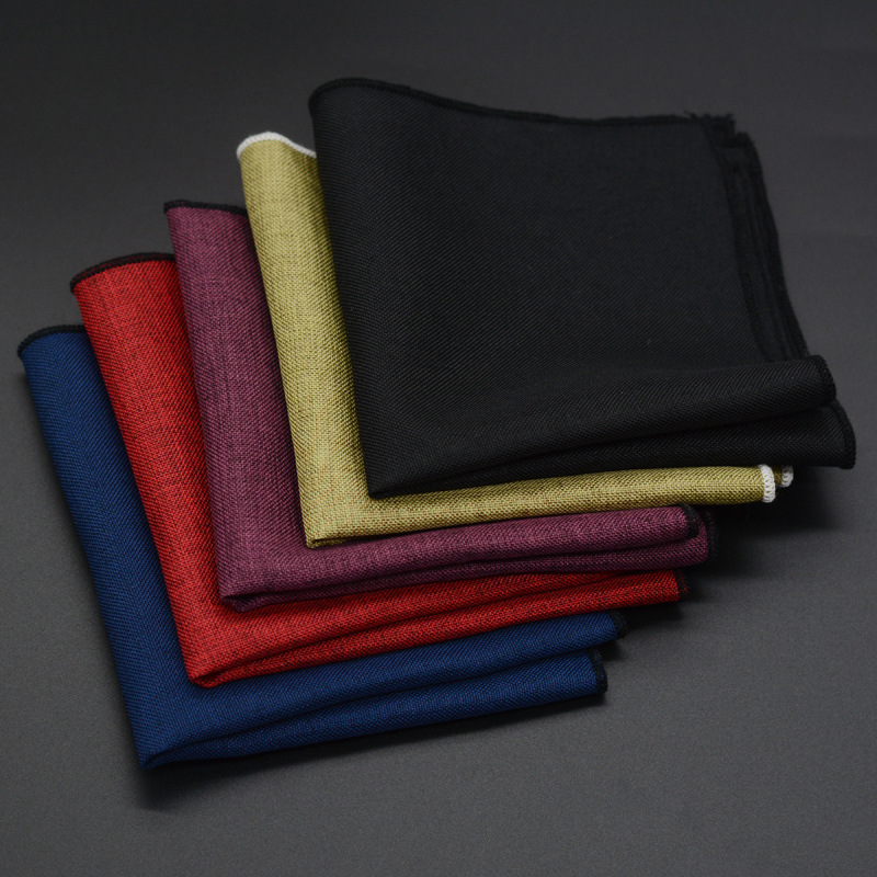 High Quality Hankerchief Scarves Business Suit Hankies Wool Casual Mens Pocket Square Solid Handkerchiefs For Wedding 22*22cm