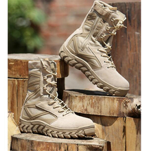 Высокие кожаные сетчатые дышащие противоскользящие военные боевые тактические сапоги для занятий спортом на открытом воздухе, тренировок, альпинизма, пустыни, пеших прогулок