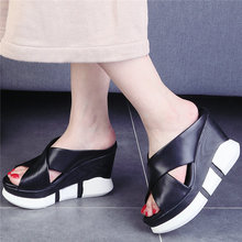 New Punk Slippers Women Genuine Leather Wedges High Heel Gladiator Sandals Female Open Toe Platform Pumps Shoes Fashion Sneakers choudory open toe high heel platform wedges mixed colors gladiator sandals buckle zipper leather fashion dunk low shoes woman