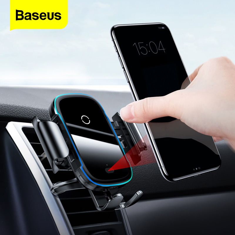 Baseus Car Phone Holder Charger For iPhone 11 Pro Max Samsung Fast Wireless Charging Intelligent 15W Qi Wireless Car Charger(China)