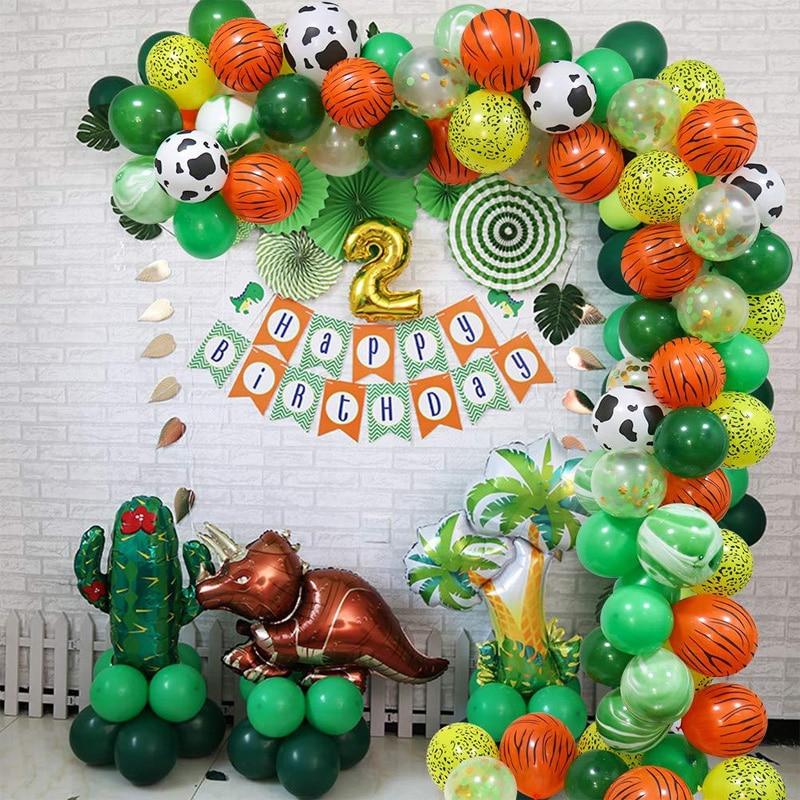 70pcs Jungle Safari Children Birthday Party Theme Balloons 12 Inch Ballon Arch Suit Boys Girls Kids Baby Shower Decorations