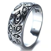 Moda Punk pierścionki dla kobiet mężczyzn Retro Hip-Hop pierścienie świadczące o osobowości grawerowane Demon oko Retro Hipster pierścień tanie tanio CN (pochodzenie) Ze stopu cynku Unisex Metal Pierścień pokazowy Zwierząt Zgodna ze wszystkimi Poprawiające nastrój