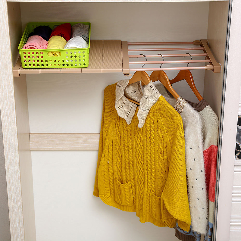 Купить с кэшбэком Adjustable Closet Organizer Storage Shelf Wall Mounted Kitchen Rack Space Saving Wardrobe Decorative Shelves Cabinet Holders