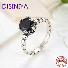 DISINIYA  Silver Color Finger Ring with Black Cubic Zirconia For Women Fashion Wedding Jewelry PA7205