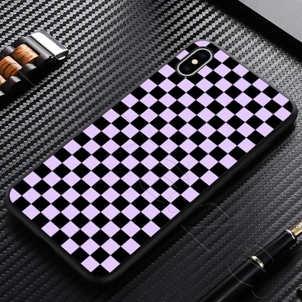 Lavaza משובץ שחמט סיליקון רך מקרה עבור iPhone 11 פרו XS Max XR X 8 7 6 6S בתוספת 5 5S SE