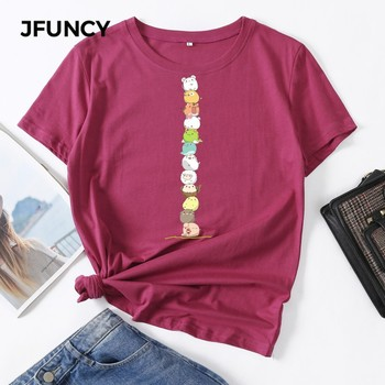 JFUNCY 100% Cotton Summer Streetwear Vogue Women Shirts Cute Animals Print Tshirt Harajuku Multicolor Female T-shirt Woman Tops jfuncy cute avocado cat print oversize women loose tee tops 100% cotton summer t shirt woman shirts fashion kawaii mujer tshirt