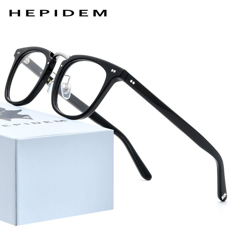 HEPIDEM Acetate Optical Glasses Frame Men 2020 Retro Vintage Square Eyeglasses Nerd Women Prescription Spectacles Eyewear 9126
