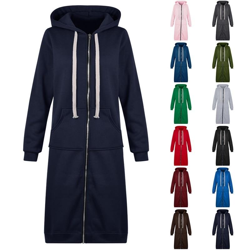 LITTHING Women Hoodies Sweatshirt Oversized Casual Autumn Zipper Hooded Pullover Long Coats Solid Pocket  Tops Jackets 5XL