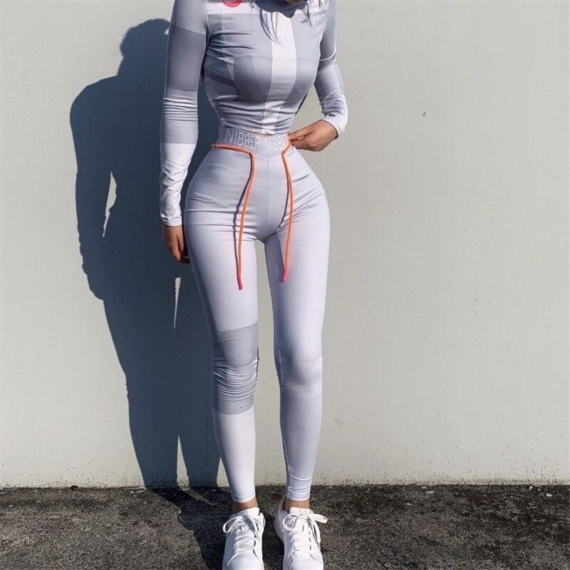LAISIYI Women Long Sleeve CropTop Slim Outfit Tracksuit 2PCS Set Letter Print High Elastic Skinny Leggings Female Sportswear
