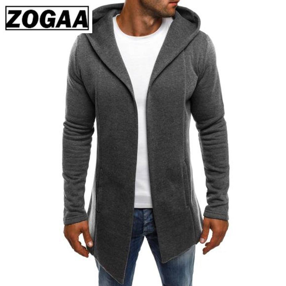 ZOGAA 2019 Spring Autumn New Men's Long Mantle Hoodies Outerwear Solid Color Hooded Streetwear Male Hoodies Sweatshirt Cloak