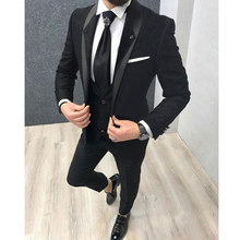 Black Slim fit Men Suits for Boyfriend 3 Piece Business formal Groom Tuxedos for Wedding prom Shawl Lapel Man Fashion Costumes(China)