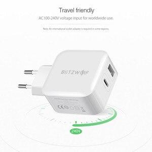 Image 3 - BlitzWolf 30W typu C ładowarka do telefonu komórkowego na PD/QC3.0 + 2.4A podwójny USB szybka ładowarka ue przejściówka Adapter ForiPhone 11 PRO XR dla iPad biały