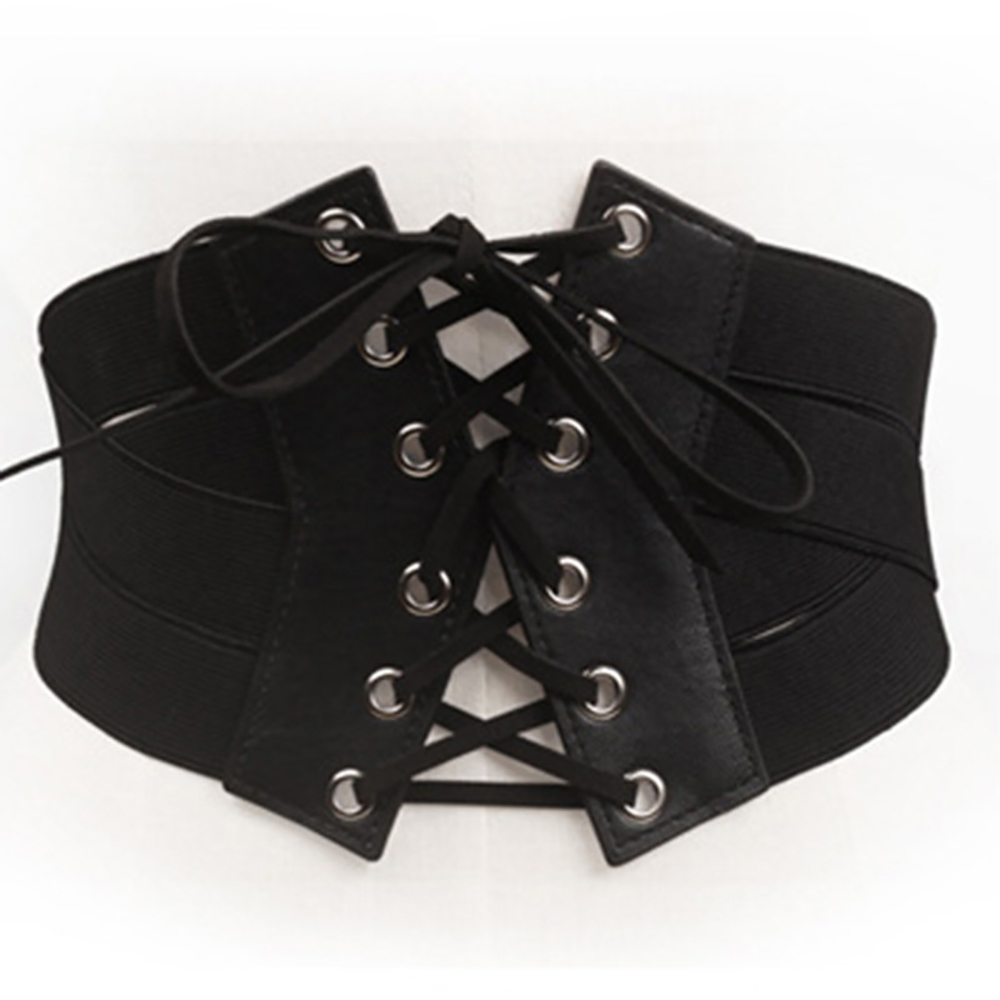 2020 Women Vintage Black Stretch Cross Bracket Strap Girdle Up High Waist Corset Bandage Women Cincher Wide Belts Slimming Body
