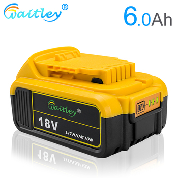 Waitley 18V 6.0Ah DCB200 Replacement Li-ion Battery for DeWalt MAX XR 18V and 20V power tool  6000mAh lithium Batteries waitley 18v 5 0ah replacement lithium battery for milwaukee m18 power tool ion 18 v batteries 5000mah for cordless drill tools