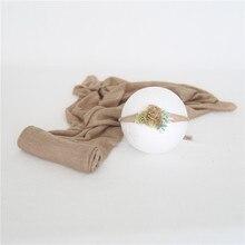 Vintage Jersey recién nacido tela abrigo conjunto de diadema accesorios bebé de punto Stretch Wrap flor Tieback de apoyos de la foto