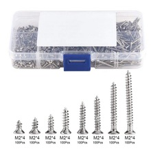 800Pcs/Set M2 Self-Tapping Screws Carbon Steel 4mm 6mm 8mm 10mm 12mm 16mm 20mm Screw Fasteners Woodworking Kit With Storage Box