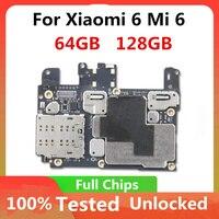 Entsperrt Für Xiaomi 6 Mi 6 Original Motherboard Logic Board 64GB 128GB Mit voller Chips Für Xiaomi 6 mi 6 Mainboard MB 64GB/128GB