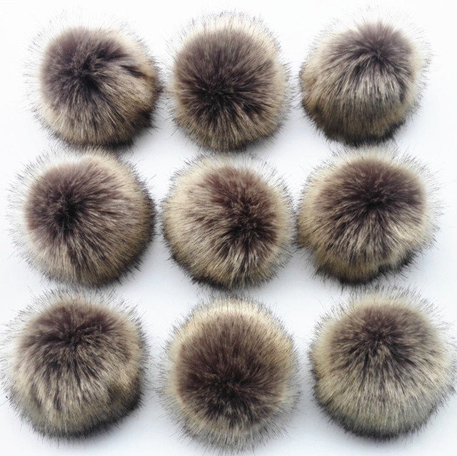 Wholesale 10pcs /lot Crinkle Resistant Faux Fur Pom pom For knitted Beanies Caps Hats Bags Key chain Garments Accessories Gift
