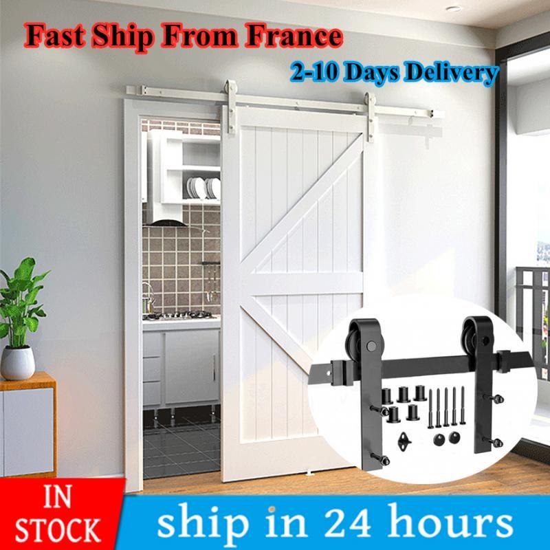183/200 см направляющая для подвесной двери сарая, оборудование для раздвижных дверей в деревенском стиле, система раздвижных дверей, Трековый...