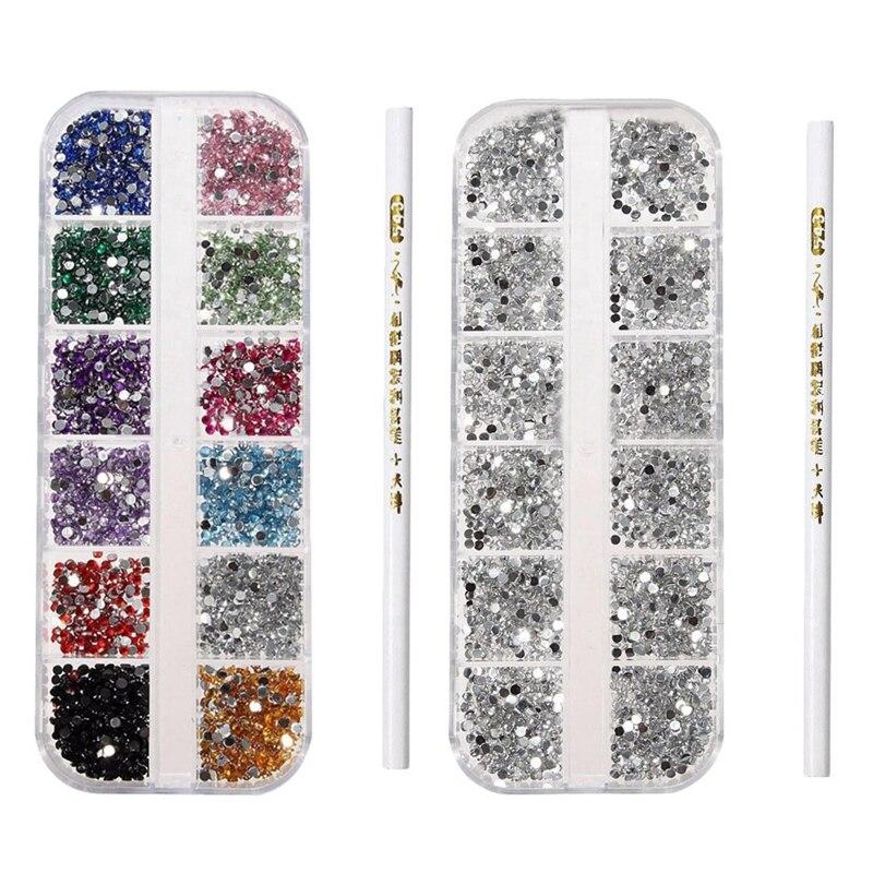 quente 6000 pcs 3d acrilico 2mm strass gemas studs arte do prego decoracao kit caneta 300
