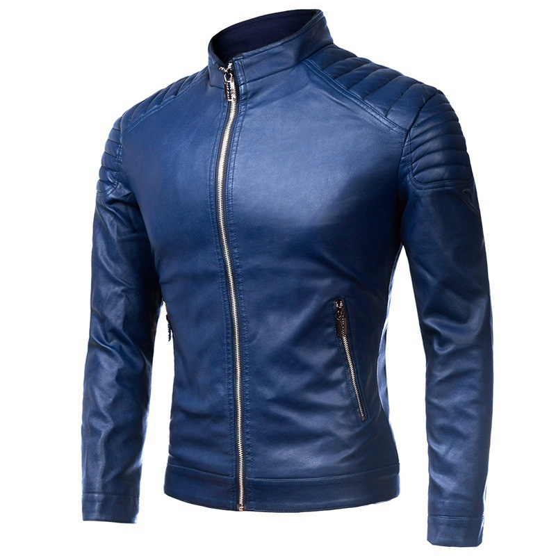 Spring And Autumn Thin Men Stand Collar Solid Color PU Leather Coat Large Size Washing Locomotive Leather Jacket