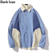 Dark Icon Color Block Patchwork Street Shirt Long Sleeve Men 2019 Autumn Loose Style Hipster Men's Shirts 3 Colors icon sleeve page 3
