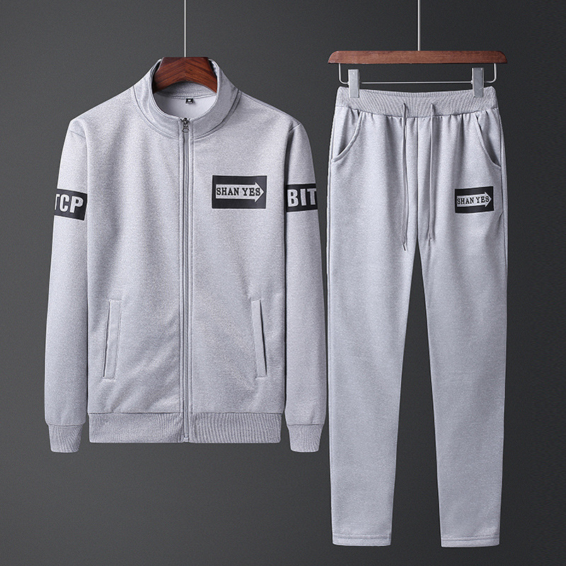 2019 Spring And Autumn New Style MEN'S Sweater Trousers Set Youth Casual Running Sports Set Students Two-Piece Set