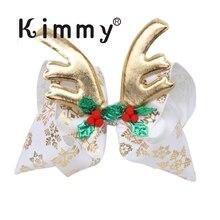 10pcs Christmas Deer Horn Antler Ribbon Knot Jumbo Large Hair Bow for Kids