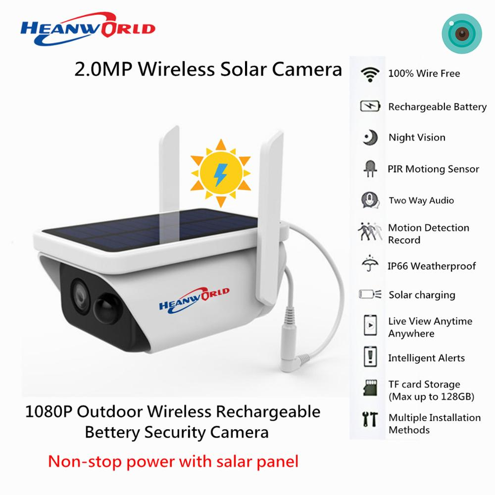 HD 2MP Wireless Rechargeable <font><b>Battery</b></font> IP Camera with Solar Panel Outdoor Weatherproof Home Security Camera Wifi PIR Motion P2P image